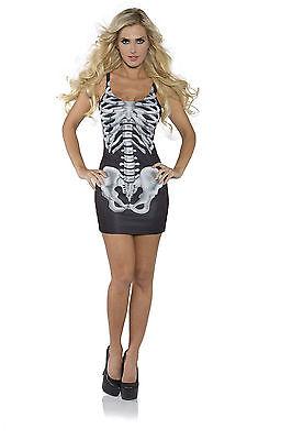 BONES TANK TOP MINI BLACK DRESS SKELETON PRINT ADULT HALLOWEEN COSTUME SMALL