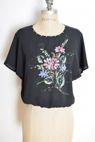 vintage 70s top black Thai hand painted floral print dolman sleeve blouse shirt
