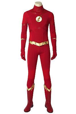 Cheap Made Halloween Costumes (The Flash Season 5 Cosplay Barry Allen Costume Custom Made Adult Halloween)