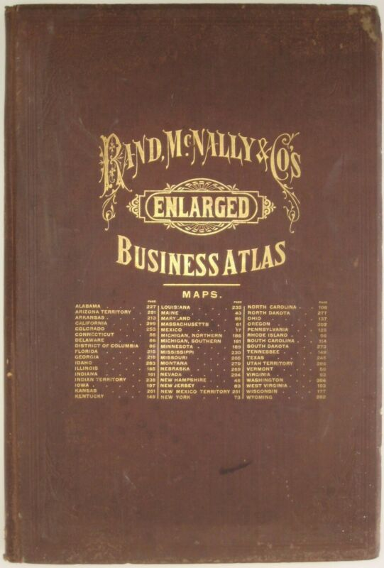 Original 1891 Rand McNally LARGE BUSINESS ATLAS States Cities Countries 93 Maps