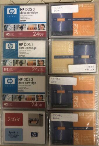 8 HP C5708A DDS-3 24GB Blank Data Tape Cartridges