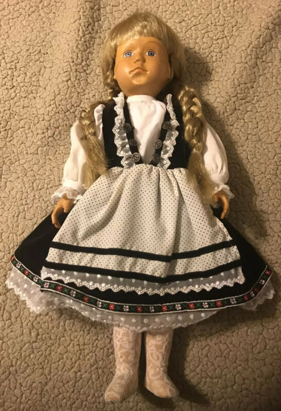 "18"" Zasan Hand Carved Wood Doll Blonde Dutch German American Girl Kirsten"