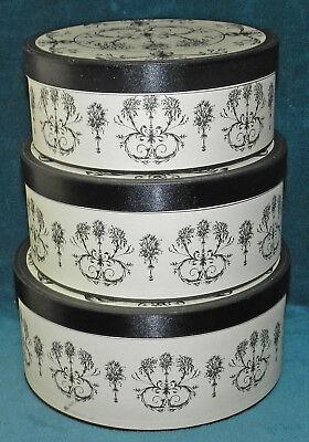 BEAUTIFUL DECORATIVE BLACK & WHITE ROUND NESTING BOXES! STORAGE ()