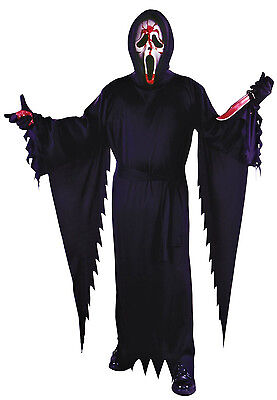 Scream Movie Scary Ghost Face Black Halloween Costume Outfit Cloaks w/Mask - Black Cloak