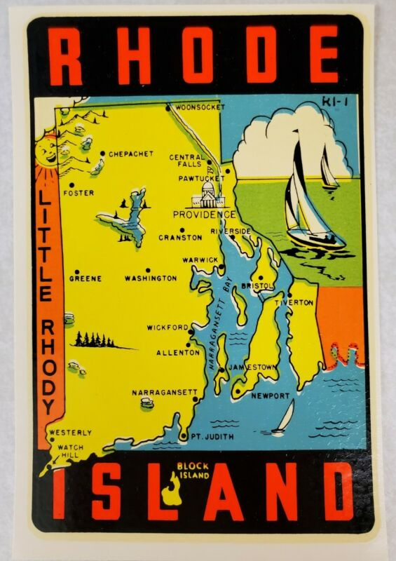 State of Rhode Island Vintage Water Transfer Car Decal State Souvenir