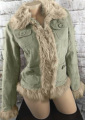 ed Junior Coat, Light, Faux Fur, Size L (misses) - USED (Faux Palme)
