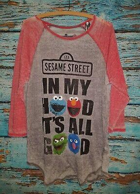 Sesame street in my hood its all good semi sheer t shirt jrs XXL  11I   Sesame Street Sheer