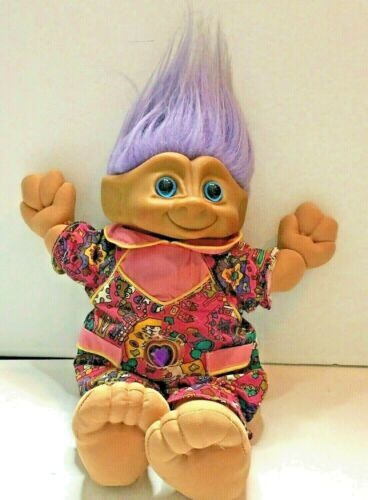 "Vintage 12"" Treasure Trolls Doll Purple Hair Jewel Belly Button Original Outfit"