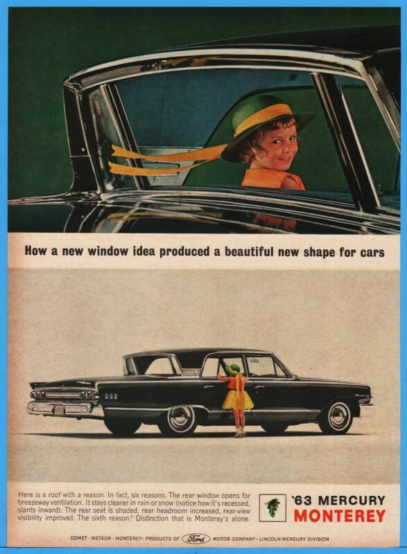 1963 Mercury Monterey Sliding Sedan Rear Window Ford Motor 1962 Photo Print Ad