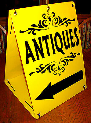 Photo ANTIQUES with ARROW Sandwich Board Sign 2-sided Kit NEW Black on  Yellow
