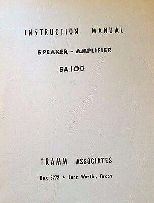 Tramm Audio Amp SA100 Install Service Parts Manual