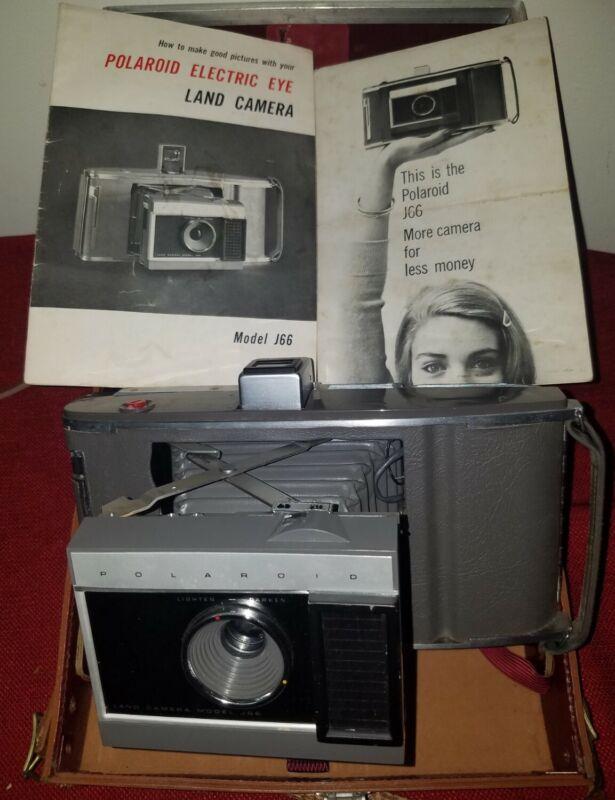 Vintage Polaroid J66 Electric Eye Land Instant Film Camera w/ Case Manual