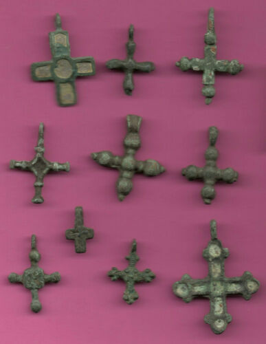 Lot of 10 Russia Bronze Ortodox Cross ca 1050 11-12th Viking Byzantine 701