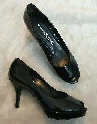 KENNEL & SCHMENGER Black Heels Women's Peep Toe Patent Leather 5.5 uk