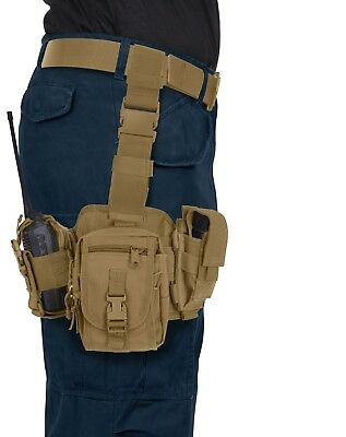 - Coyote Brown Drop Leg Utility Tactical Rig MOLLE Compatible Pouch Rothco 11750