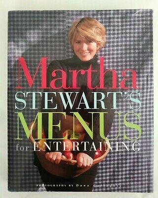 Hardback Menu Covers (Martha Stewart s Menus for Entertaining Hard Cover Dust Jacket Vtg Free Shipping )