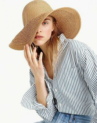 J.CREW~NICE Travel PACKABLE~SUMMER STRAW SUN HAT~COWGiRL WIDE BRIM PANAMA~O/S~LN