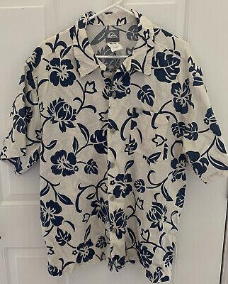 QUIKSILVER Men's Button Down Shirt Blue Floral Print, XL