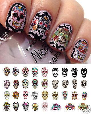 Sugar Skull Set #1 Nail Art Waterslide Decals - Halloween & Day of the (Sugar Skull Nails)