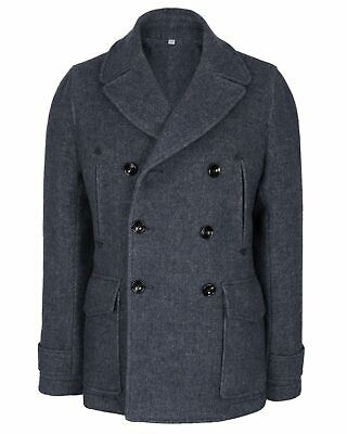 Hardy Amies Mens Slim Fit Wool Blend Double Breasted Melton Peacoat Medium Blue Double Breasted Melton Peacoat