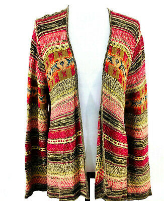 Ralph Lauren Chaps Linen Blend Tribal Aztec Print Cardigan Womens XL Open Front