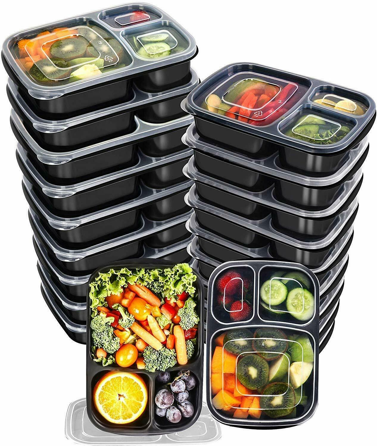 20 Piece Meal Prep Containers  3 Compartment with Lid Utopia Kitchen