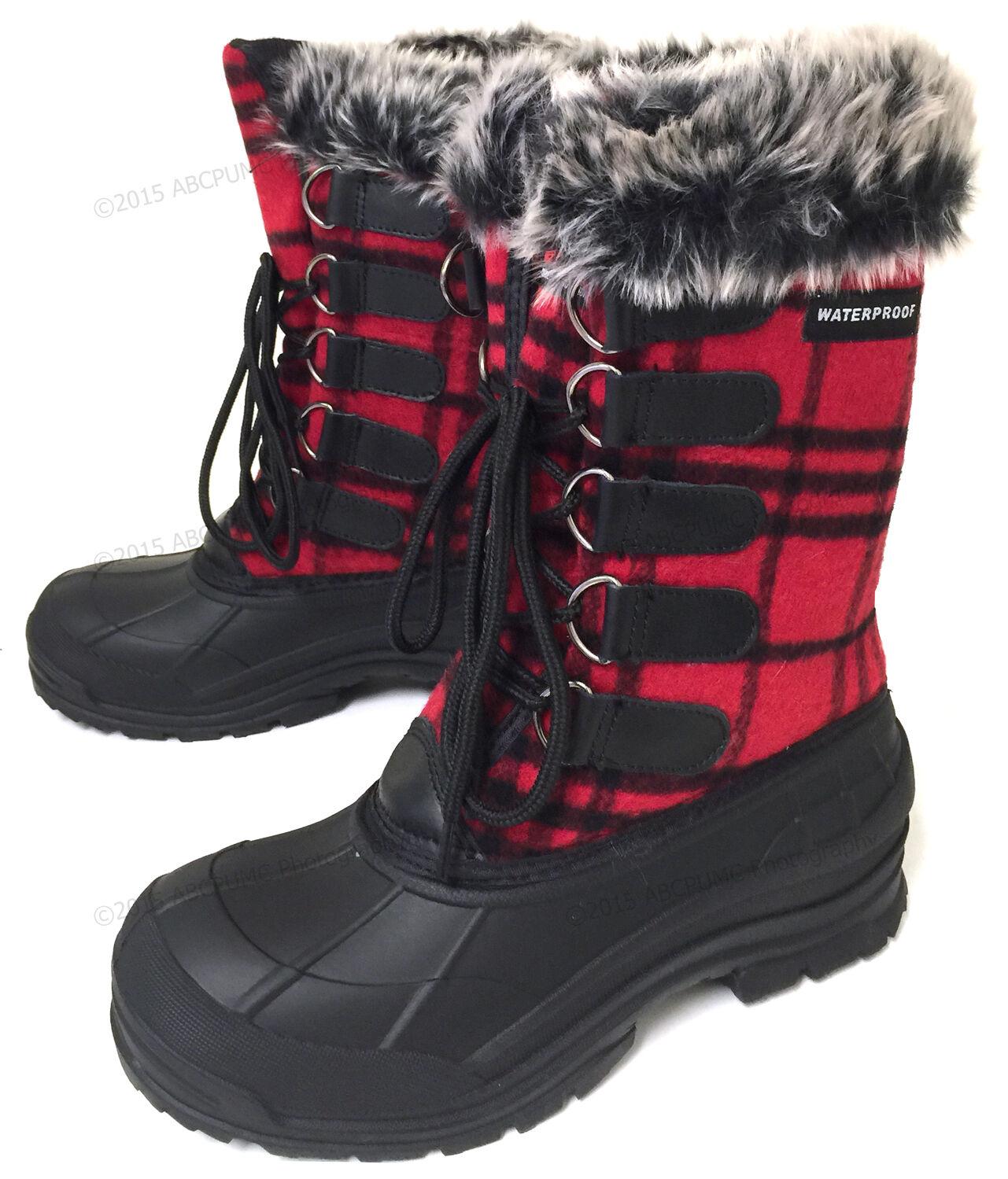 New Women's Winter Boots Flannel Plaid Fur Warm Insulated Wa