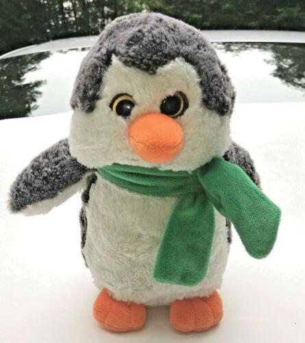 "Gitzy 9"" Christmas  Winter Penguin  Scarf Green SUPER SOFT PLUSH STUFFED ANIAMAL"