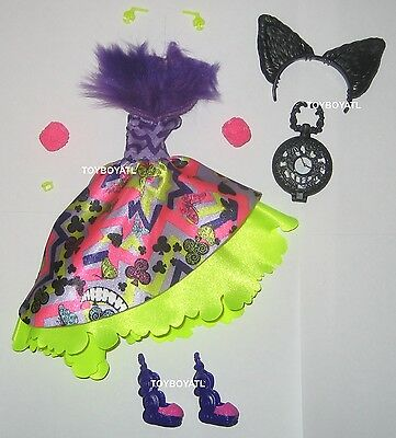 Ever After High Way Too Wonderland Kitty Cheshire Doll Outfit Clothes Shoes