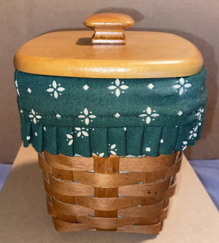 """Longaberger Basket - Small Spoon 1994 Green W/ Plastic Liner And Lid. 6"""" Tall"""