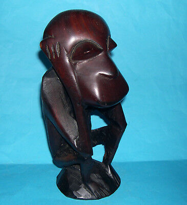 Tribal Art - Attractive Hard Wood Large (28cm tall) Hand Carved Monkey Figurine.