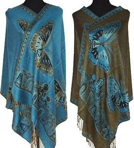 blue Double-side Butterfly Fancy Cashmere Women`s Pashmina Shawl/scarf
