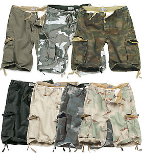 SURPLUS-VINTAGE-MENS-SHORTS-MILITARY-STYLE-ARMY-CARGO-COMBAT-100-WASHED-COTTON