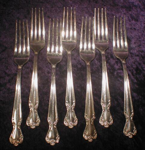 7 International Rogers Bros DAYBREAK Elegant Lady Silverplate Dinner Forks 1952
