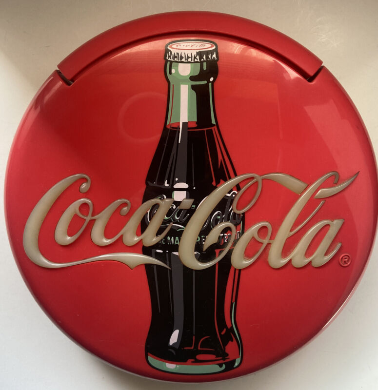 """Coca Cola 12"""" Lighted Round Red Button Sign Telephone Phone Wall/Table Top-Great"""