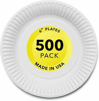 Stock Your Home 6-Inch Paper Plates Uncoated, White, 500