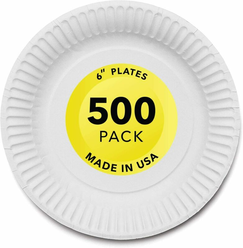 Stock Your Home 6-Inch Paper Plates Uncoated, White, 500 Count