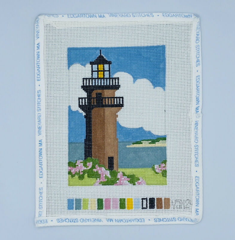 Gay Head Lighthouse Martha's Vineyard Needlepoint Canvas Handpainted