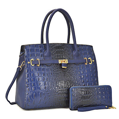 Women Vintage Ostrich Croco Handbag Embossed Satchel Matching Wallet Set