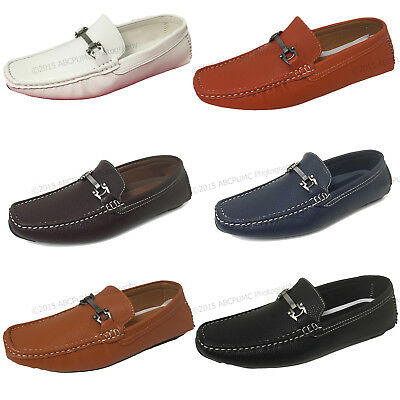 Mens Driving Casual Moccasins Leather Loafers Slip On Boat Deck Shoes Color Size