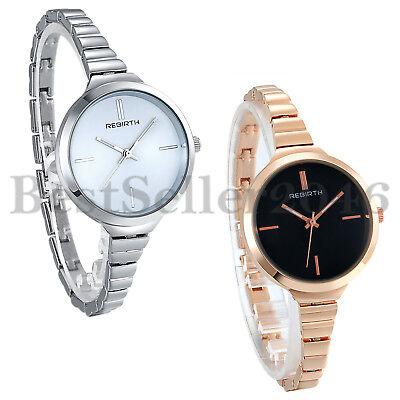 Stainless Steel Wrist Watch for Women Luxury Silver Rose Gold Tone Analog Quartz ()