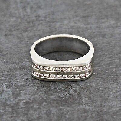 14k WG Double Row Channel Set Diamond .80 tcw Band/Ring Size 11