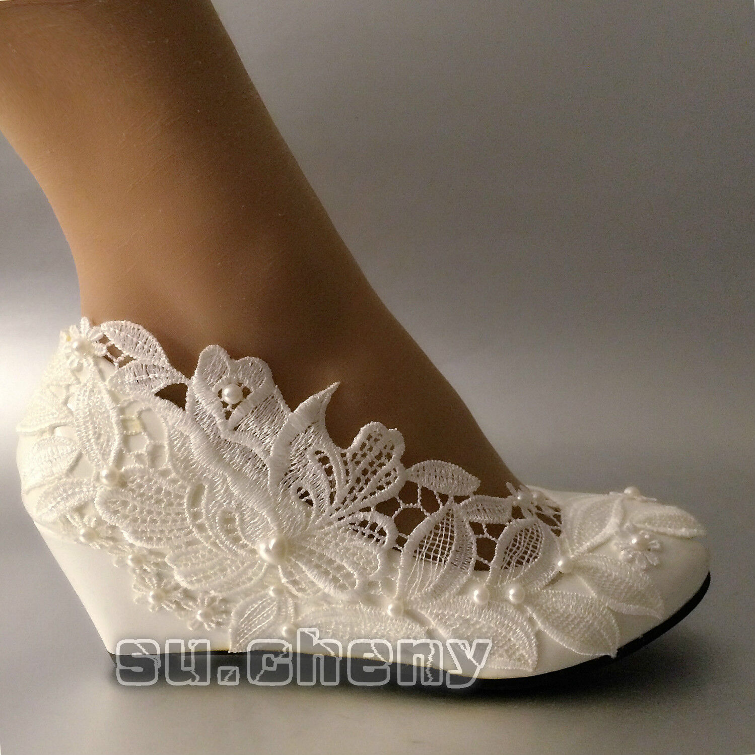 4e2983e85fa Обувь для свадьбы su.cheny White lace pearls flower wedge pumps crystal Wedding  Bridal pumps shoes - 231639849841 - купить на eBay.com (США) с доставкой в  ...