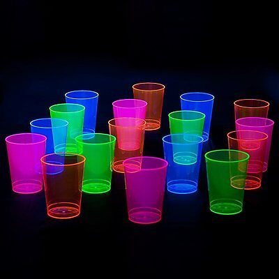 Neon Party 100-Cups Assorted Plastic Beer Drinks Glasses Glow In The Dark Gift