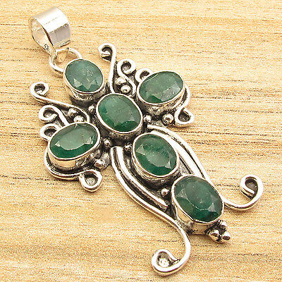 - 925 Silver Plated Man's CROSS Simulated  EMERALD 6 Gems CHUNKY Pendant 2