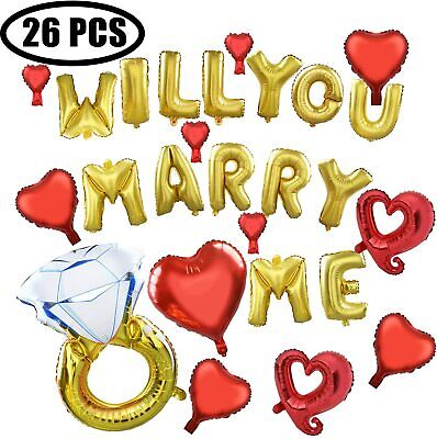 Will You Marry Me Balloons (26 PCS Foil Will You Marry Me Diamond Ring Balloon for Wedding Proposal)