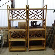 Pair retro cane quality bamboo tall bookshelves, display shelves Summer Hill Ashfield Area Preview