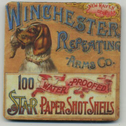 Winchester Repeating Arms Ammo box coaster set - RARE Ammo Box Print - Bird Dog