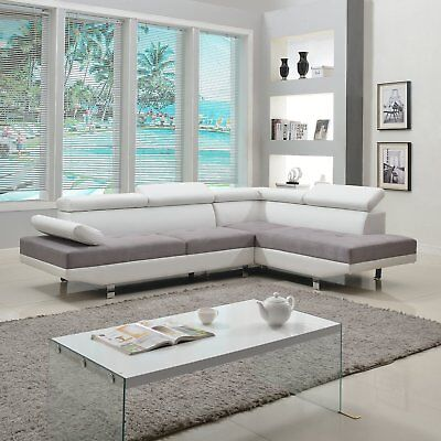 Modern Contemporary Design 2 Tone Microfiber Bonded Leather Sectional Sofa White