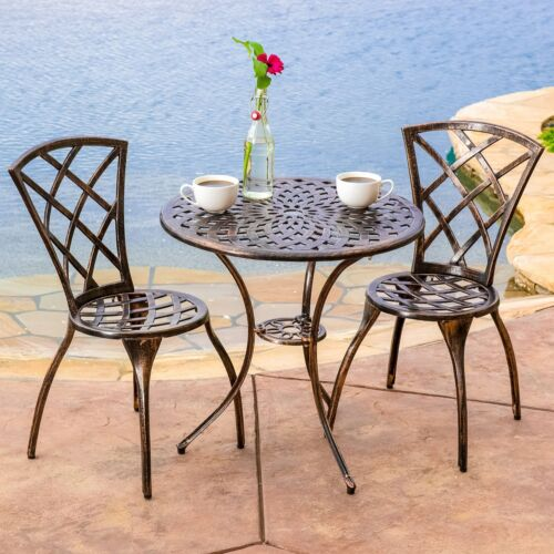 Garden Furniture - Patio Furniture Bistro Set 3 Pcs Outdoor Metal Chairs Table Garden Yard Pool New